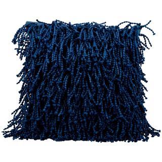 "Mina Victory by Nourison Navy Blue Shag Pillow (14""x20"")"