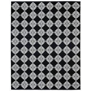 Black Medallion Cotton Jacquard (9'x12') Rug