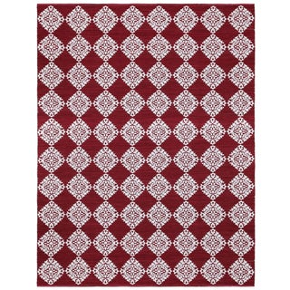 Red Medallion Cotton Jacquard (9'x12') Rug