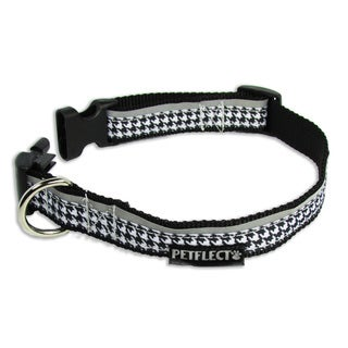 Petflect Black and White Houndstooth Reflective Dog Collar