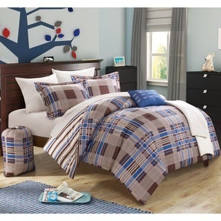 Chic Home Cambridge Super Soft Plaid and Stripe Reversible 10-piece Bed in a Bag Set