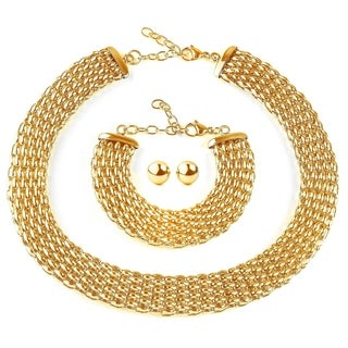 ELYA Stainless Steel Hollow Mesh Jewelry Set