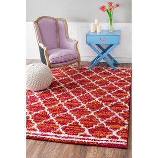 nuLOOM Soft and Plush Trellis Rust Kids Shag Rug (8' x 11')