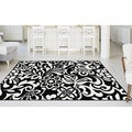 Alise Lagoon Black and White Floral Area Rug (5' x 7')
