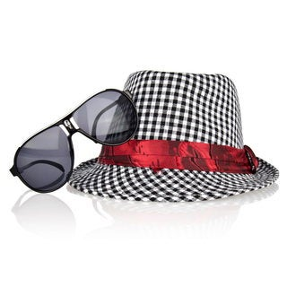 Crummy Bunny Boy's Brown Gingham Print Fedora and Sunglasses Set