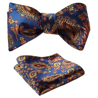 Dmitry Men's Blue Floral Jacquard Woven Self Bow Tie Set
