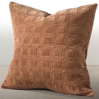 Meridian Cognac Velvet 20-inch Feather and Down Filled Luxury Pillow with Hand-applied Metal Studs