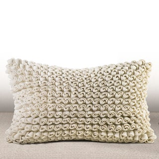 Madrygal Ivory Rosette Luxury Feather and Down Filled Lumbar Pillow