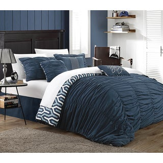 Chic Home Lester Navy Pleated Ruffled 11-piece Bed in a Bag with Sheet Set
