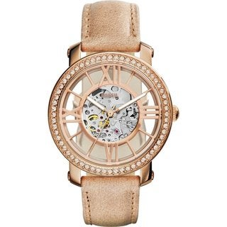 Fossil Women's Curiosity Diamind Skeleton Dial Beige Leather Automatic Watch ME3060