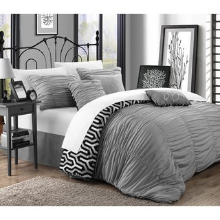 Chic Home Lester Silver Pleated Ruffled 11-piece Bed in a Bag with Sheet Set