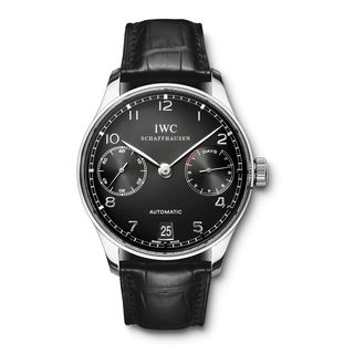 IWC Men's IW500109 'Portuguese' Chronograph Automatic Black Leather Watch