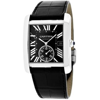 Cartier Men's W5330004 'Tank MC' Automatic Black Leather Watch