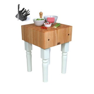 John Boos 24-inch Alabaster White Butcher Block Table with Henckles 13-piece Knife Set