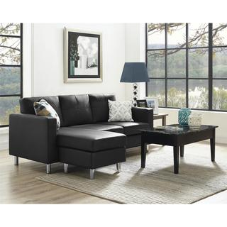 Dorel Living Small Spaces Black Faux Leather Configurable Sectional Sofa