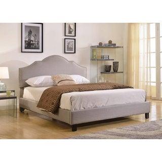 Abbyson Living Sophie Grey Linen Platform Upholstered Bed