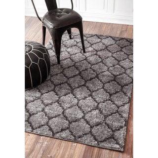 nuLOOM Soft and Plush Trellis Grey Shag Rug (8'6 x 11'6)