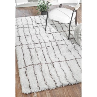 nuLOOM Handmade Soft and Plush Moroccan White Shag Rug (9' x 12')