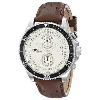 Fossil Men's Wakefield Chronograph Beige Dial Brown Leather Watch CH2943
