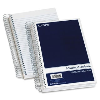 TOPS 5-Subject Wide Rule Wirebound Notebook