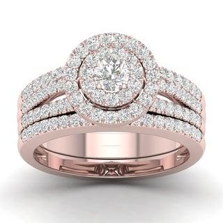 De Couer 14k Rose Gold 1ct TDW Diamond Halo Engagement Ring (H-I, I2)