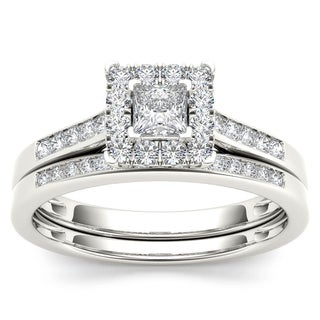 De Couer 10k White Gold 1/2ct TDW Diamond Halo Engagement Ring Set with One Band (H-I, I2)