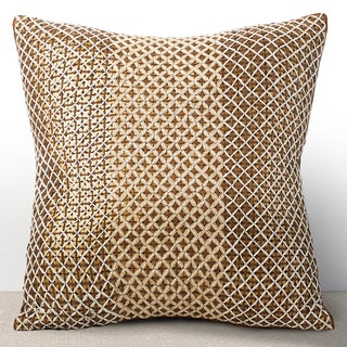 VIivante Cognac 16-inch Sequined Feather and Down-filled Pillow with Hand Stiched Embroidery