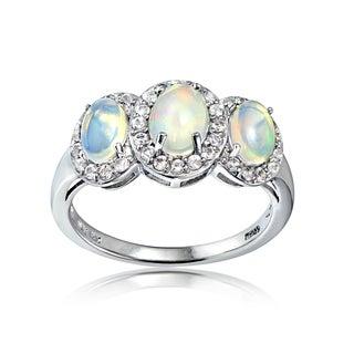 Glitzy Rocks Sterling Silver Ethiopian Opal and White Topaz 3-Stone Halo Ring