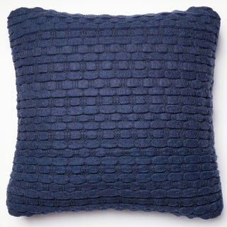 Rhythm Navy Felted Wool Down Feather or Polyester Filled 22-inch Throw Pillow or Pillow Cover