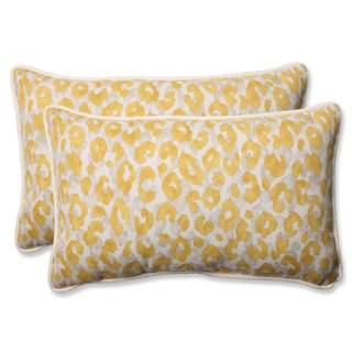 Pillow Perfect Outdoor/ Indoor Snow Leopard Sunburst Rectangular Throw Pillow (Set of 2)