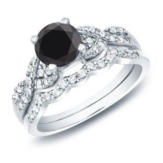 Auriya 14k Gold 1ct TDW Black Diamond Braided Bridal Ring Set
