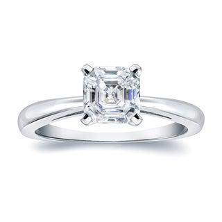 Auriya 18k Gold 3/4ct TDW Asscher-Cut Diamond Solitaire Engagement Ring (H-I, VS1-VS2)