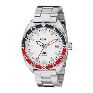 Fossil Men's Breaker Red, White, Blue Dial Silver Stainless Steel Watch FS5049