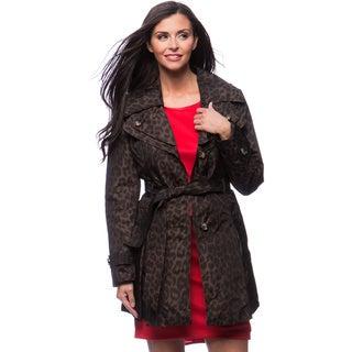 London Fog Missy Double Collar Leopard Print Women's Coat