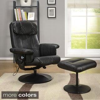 K & B 8023-B Relax Chair w/ Ottoman Black Finish