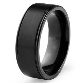 Men's Blackplated Titanium Brushed Finish Ring