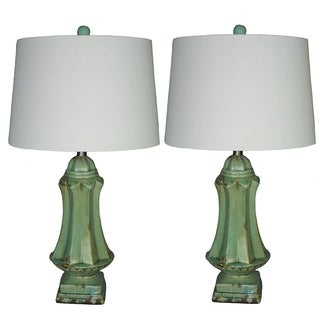 Vintage Green Ceramic Lamp (Set of 2)