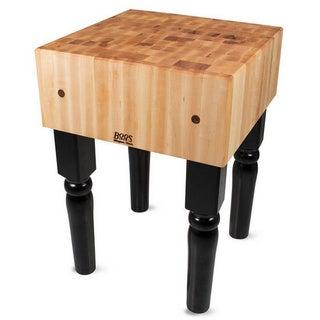 John Boos Black Butcher Block Table and Bonus Henckles 13-piece Knife Set