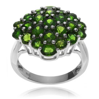 Journee Collection Rhodium-plated Sterling Silver Chrome Diopside Ring