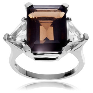 Journee Collection Rhodium-plated Sterling Silver Smokey Topaz 3-stone Ring