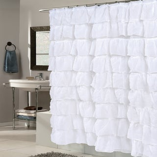 Elegant White Crushed Voile Ruffled Tier Shower Curtain