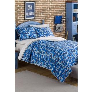 Jordan Blue Camo 3-piece Quilt Set