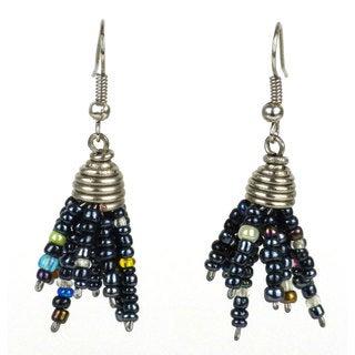 Black Maasai Beaded Spike Earrings (Kenya)
