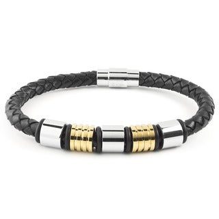 Crucible Stainless Steel Two-Tone Beaded Black Braided Leather Bracelet