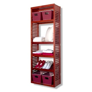 12-inch Deep Red Mahogany Standalone Tower with Adjustable Shelves