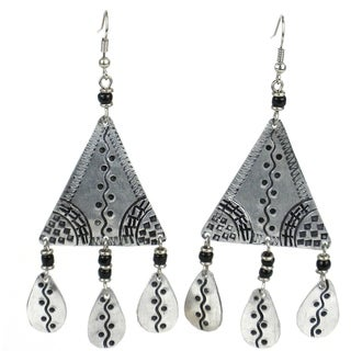 Stamped Recycled Cooking Pot 'Gypsy' Earrings (Kenya)