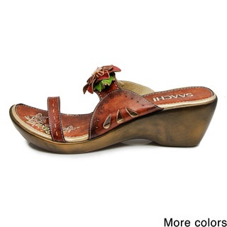 Saachi Women's Flower Leather Wedge Sandals (China)