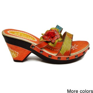 Saachi Women's Flower Leather Nail Head Sandals (China)