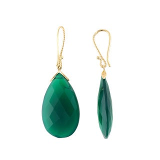 14kt Yellow Gold 45.78ctw Green Onyx Drop & Dangle Earring