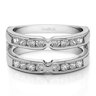 10k Gold 1/2ct TDW Diamond Traditional Style X-design Jacket Ring (G-H, I1-I2)